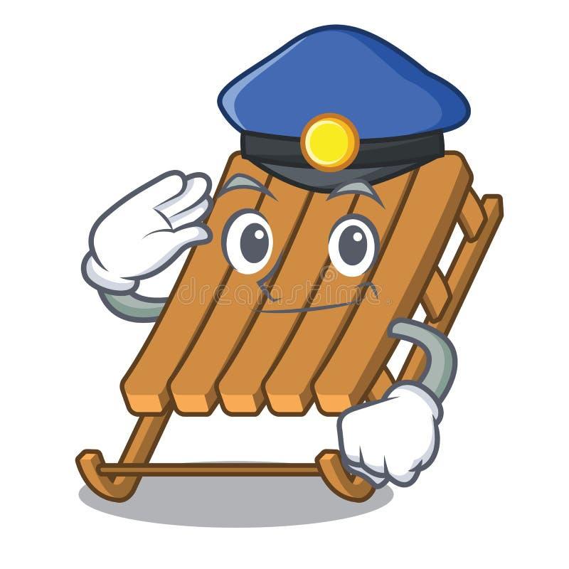 De slee van het politieijs in de mascottevorm royalty-vrije illustratie
