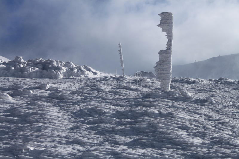 De Sleep van de de winterberg royalty-vrije stock fotografie