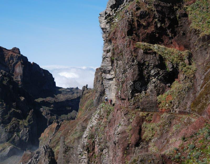 De sleep van de wandeling dicht bij pico do arieiro royalty-vrije stock foto's