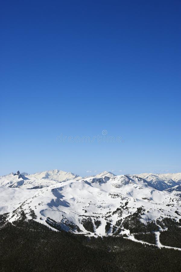 De slepen van de ski op berg. stock afbeeldingen