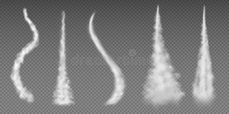 De slepen van de vliegtuigcondensatie Het effect van de de raketstroom van de vliegtuigrook de vluchtsnelheid van de vliegtuig ba vector illustratie