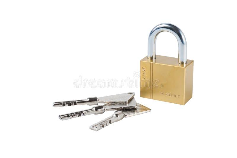 De sleutel en de Loper isoleren op wit stock foto