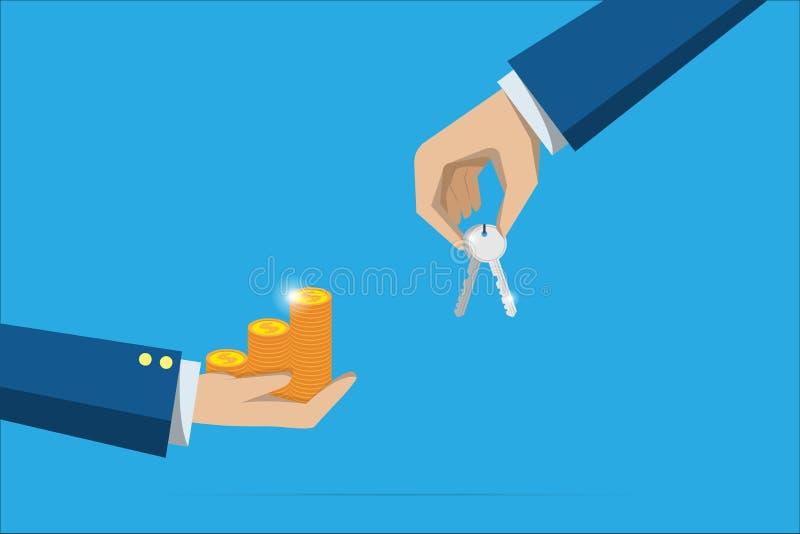 De sleutel en de muntstukken van de bedrijfshandholding stapelen, onroerende goederen en bedrijfsconcept royalty-vrije illustratie