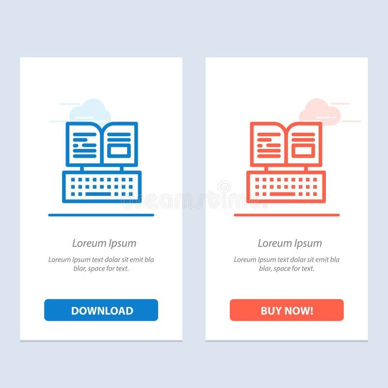 De sleutel, het Toetsenbord, het Boek, de Blauwe en Rode Download van Facebook en kopen nu de Kaartmalplaatje van Webwidget stock illustratie