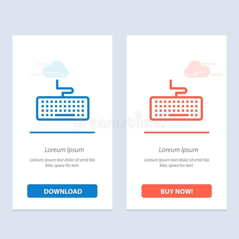 De sleutel, het Toetsenbord, de Hardware, de Onderwijs Blauwe en Rode Download en kopen nu de Kaartmalplaatje van Webwidget vector illustratie