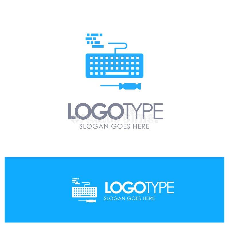 De sleutel, Toetsenbord, Hardware, herstelt Blauw Stevig Embleem met plaats voor tagline stock illustratie