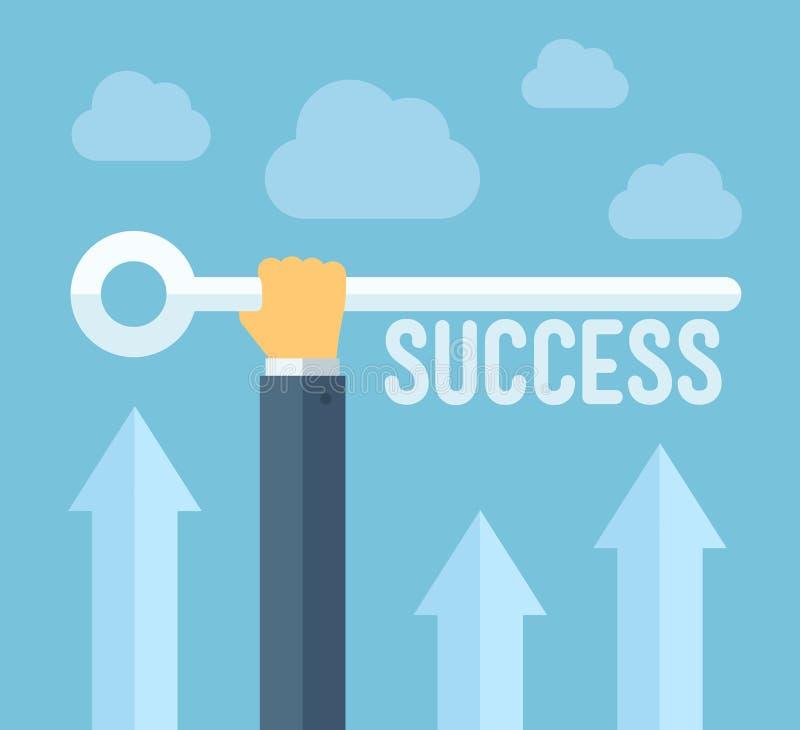 De sleutel tot het concept van de succesillustratie vector illustratie