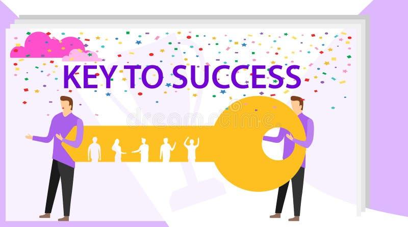 De sleutel tot succes is in groepswerk en communicatie bedrijfs vectorconcept De zakenman en de ondernemer gaan naar de deur vector illustratie