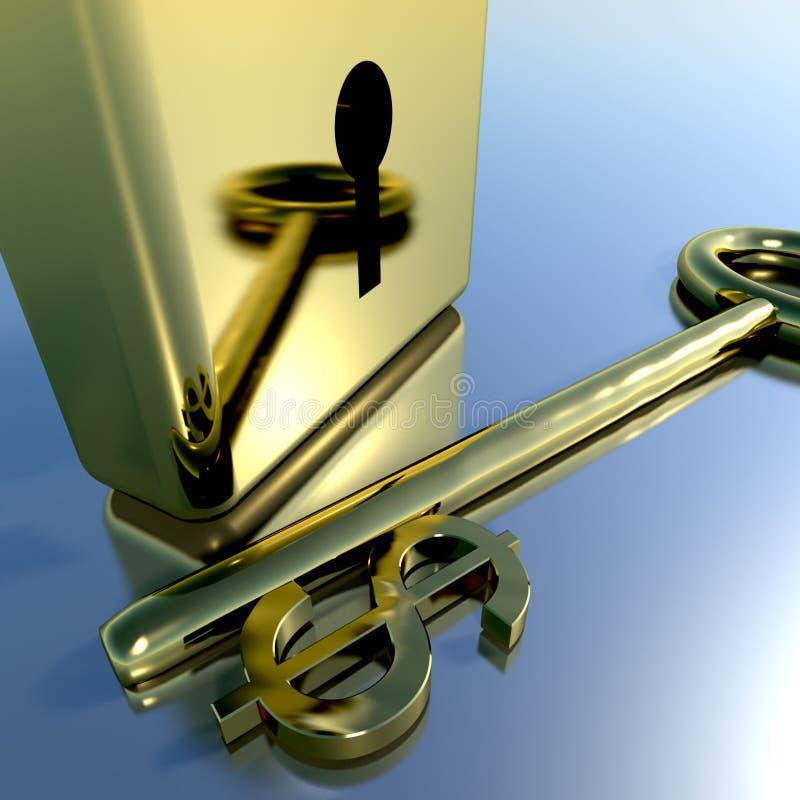 De Sleutel van de dollar met Gouden Hangslot dat Bankwezen toont royalty-vrije illustratie