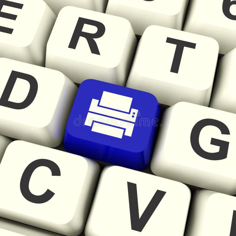 De Sleutel van de drukcomputer in Blauw die Toegang tot een Duurzame kopie tonen royalty-vrije stock afbeelding