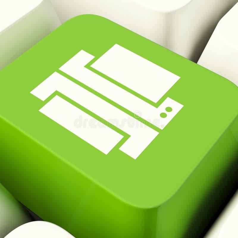 De Sleutel van de drukcomputer in Groene Tonende Toegang tot een Duurzame kopie stock foto's