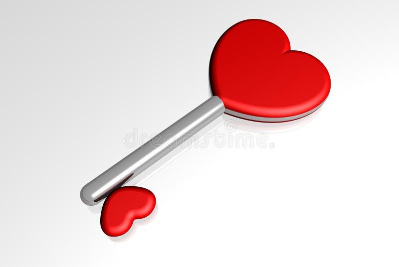 De sleutel van de liefde tot harten vector illustratie
