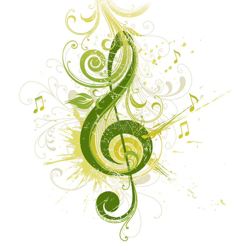 De sleutel van de viool. Bloemen ontwerp. royalty-vrije illustratie