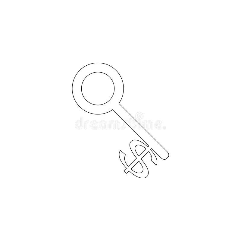 De Sleutel van de dollarmunt Vlak vectorpictogram stock illustratie