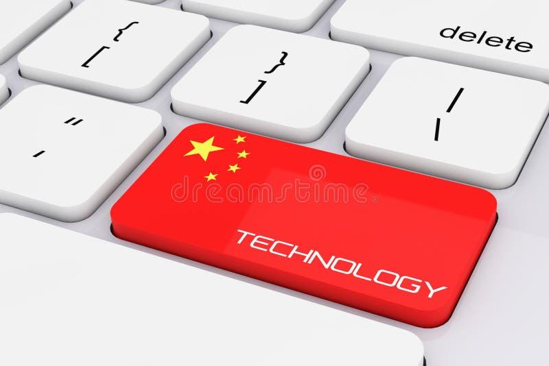 De Sleutel van het computertoetsenbord met de Vlag van China en Technologieteken 3d aangaande stock illustratie