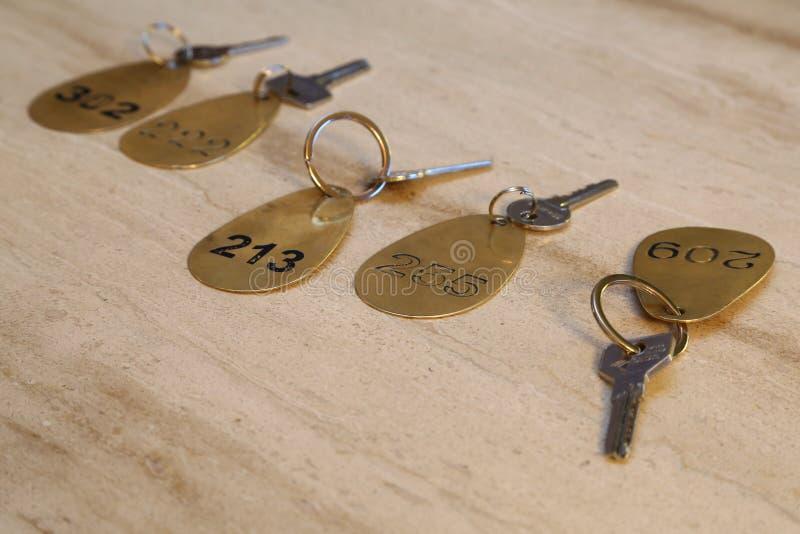 De sleutel van het hotel en FOB royalty-vrije stock fotografie
