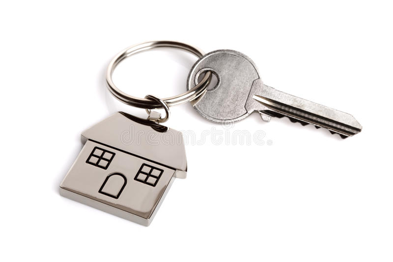 De sleutel van het huis op sleutelring royalty-vrije stock foto