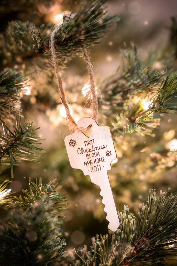 De Sleutel van het kerstboomornament stock foto's