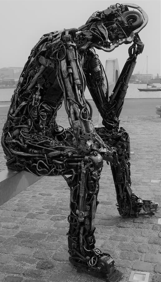 De Sleutel van Zinkglobal van het havenstandbeeld tot de Toekomst royalty-vrije stock foto