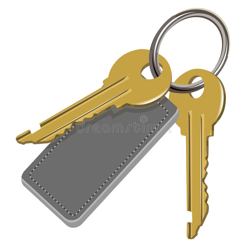 De sleutelbos en leeretiket royalty-vrije illustratie