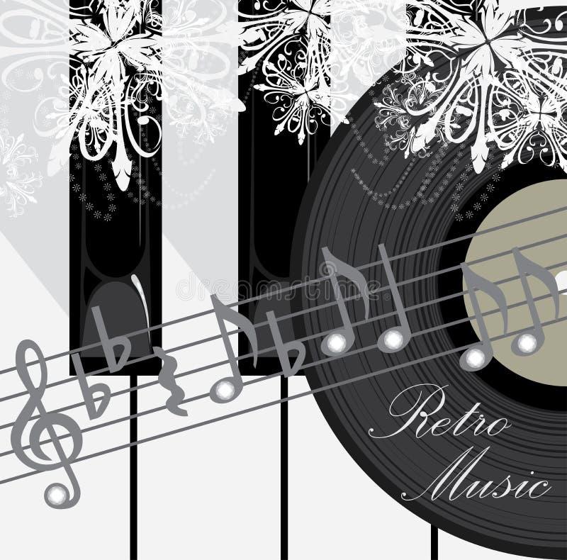 De sleutels, de schijf en de nota's van de piano. Retro muziekachtergrond royalty-vrije illustratie