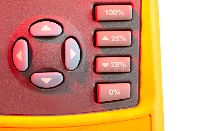 De sleutels van de bedieningshendel en van percenten van kalibermeter stock fotografie