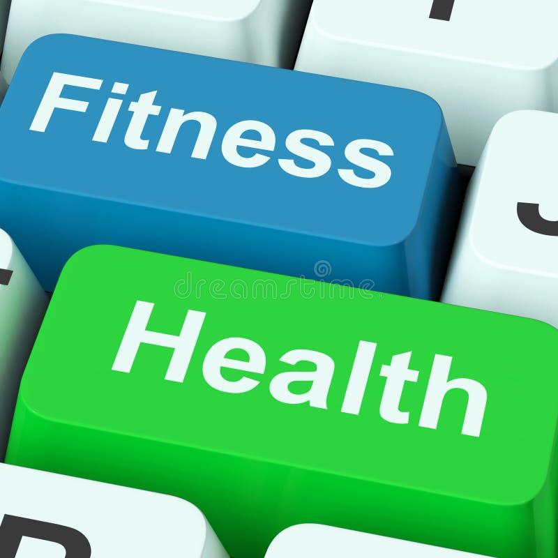 De Sleutels van de geschiktheidsgezondheid toont Gezonde Levensstijl vector illustratie