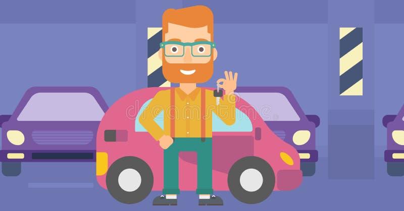 De sleutels van de mensenholding van nieuwe auto vector illustratie