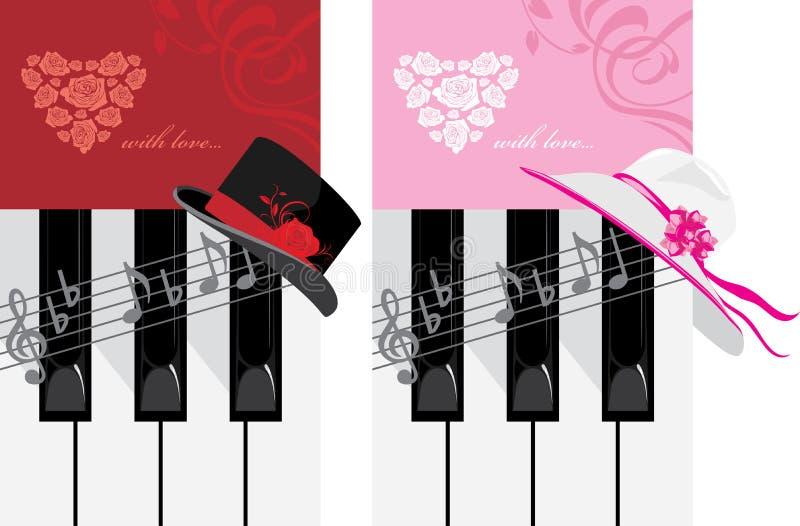 De sleutels van de piano en vrouwelijke hoed Romantische Muziek royalty-vrije illustratie