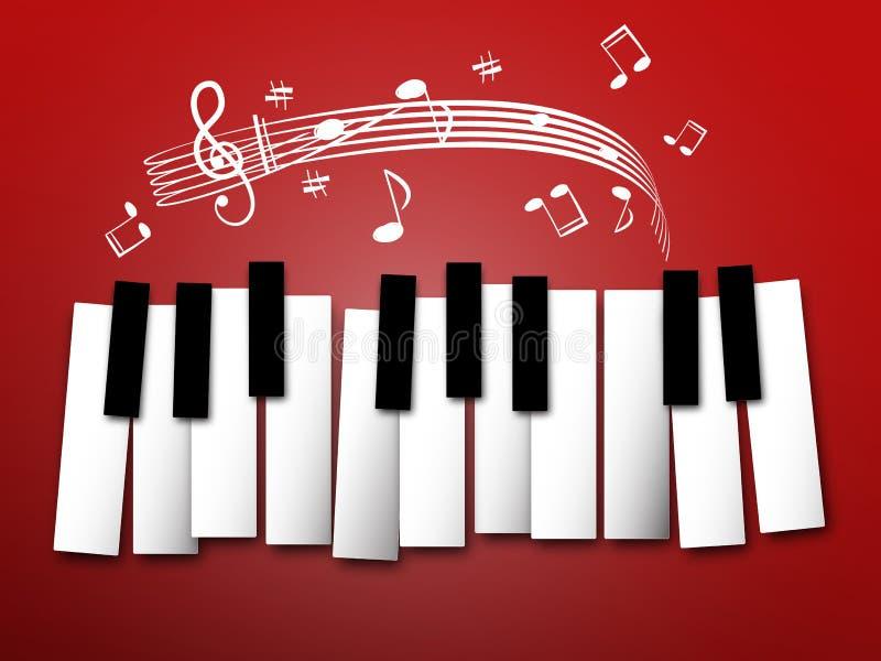 De sleutels van de piano Muzieknota's en Personeel vector illustratie