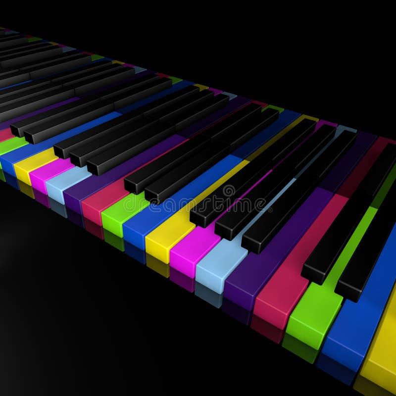 De sleutels van de regenboogpiano van muziekapparaat sluiten de frontale illustratie van menings 3d rendrer vector illustratie