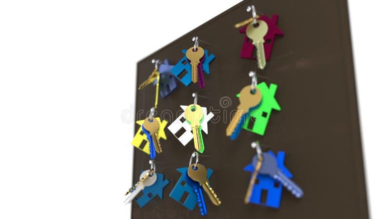 De sleutels van het doorbraakhuis, het 3d teruggeven stock illustratie