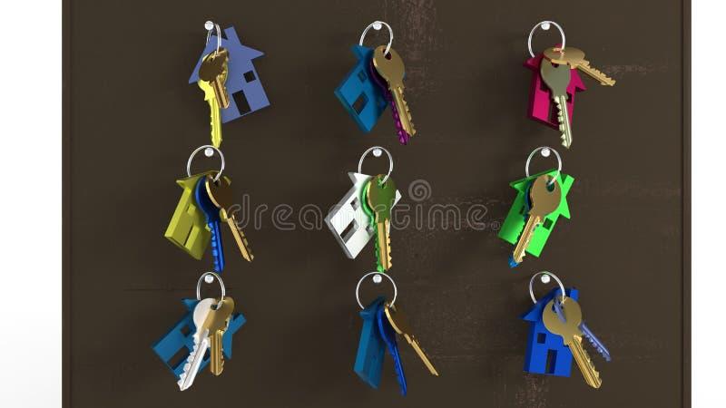 De sleutels van het doorbraakhuis, het 3d teruggeven royalty-vrije illustratie