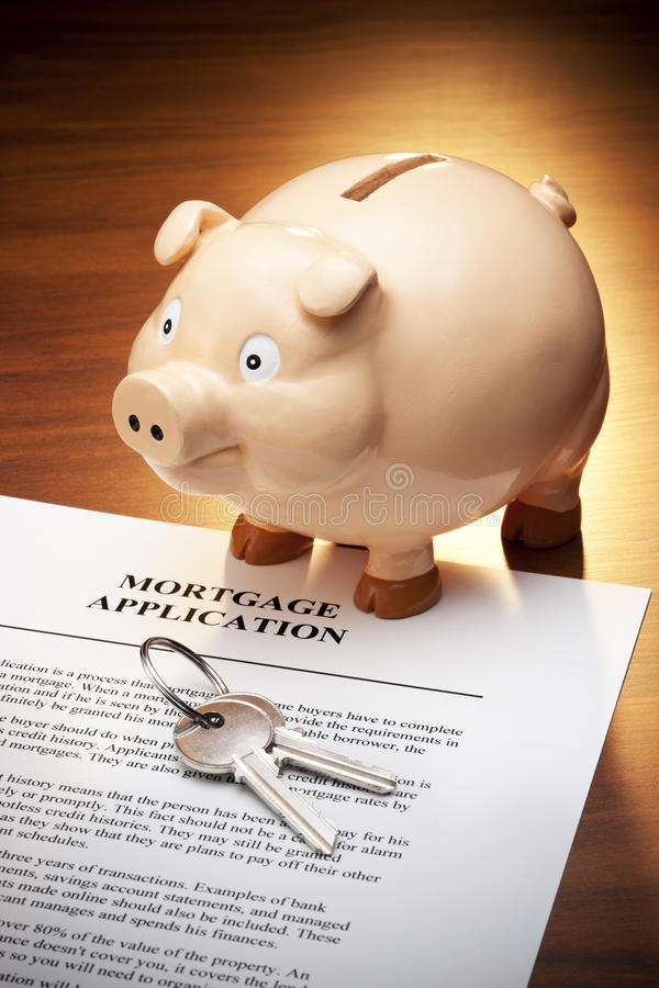 De Sleutels van het Spaarvarken van de Lening van de hypotheek royalty-vrije stock afbeeldingen