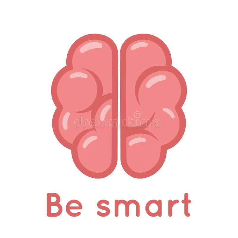 De slimme Brain Logo Symbol Education Scientific Idea-Vectorillustratie van het Oplossings Vlakke Ontwerp vector illustratie