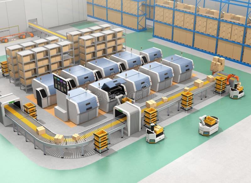 De slimme fabriek rust met AGVs, 3D printers en robotachtig wapen uit stock illustratie