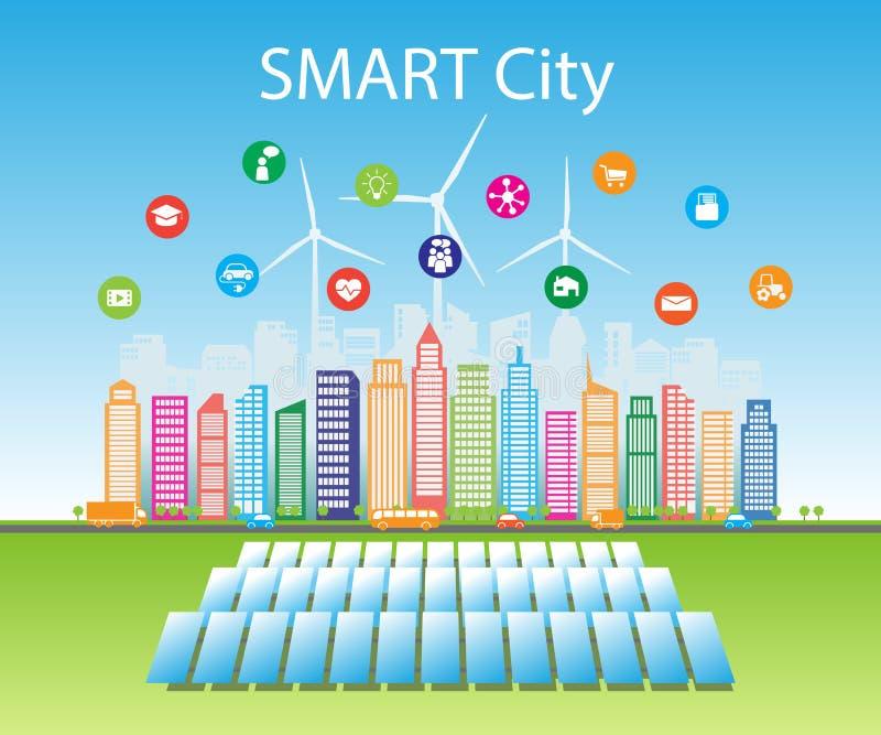 De slimme groene steden verbruiken alternatieve natuurlijke energiebronnen met de gevorderde intelligente diensten, sociale netwe stock illustratie