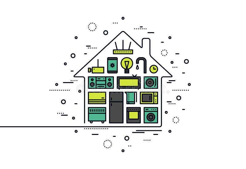 De slimme illustratie van de de lijnstijl van de huistechnologie stock illustratie
