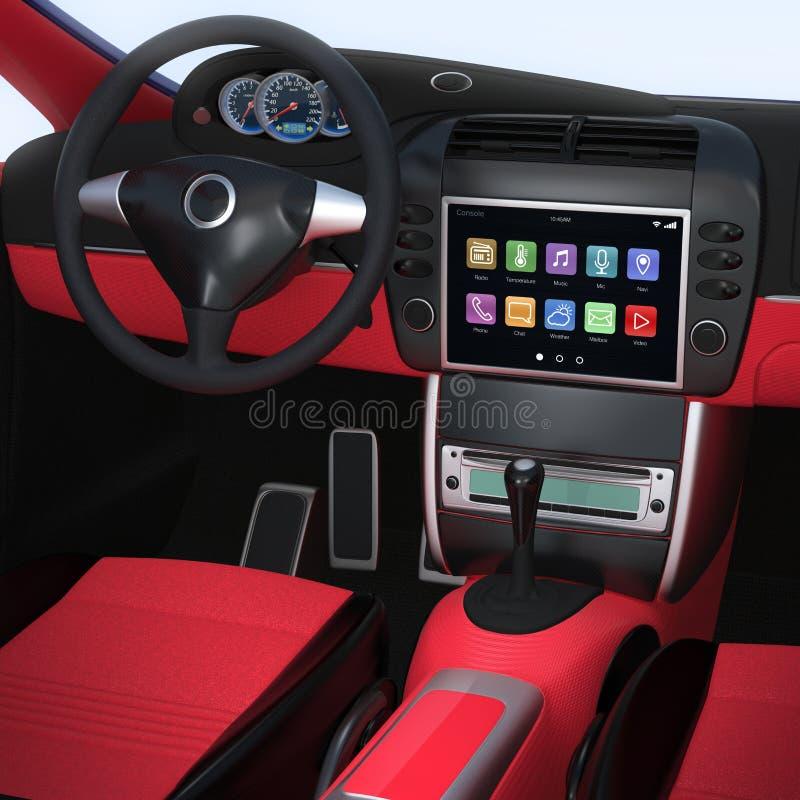 De slimme interface van de autonavigatie in origineel ontwerp stock fotografie