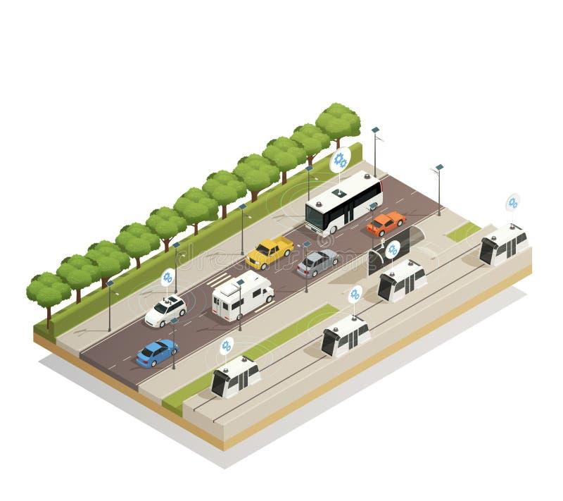 De slimme Isometrische Samenstelling van het Stadsverkeer royalty-vrije illustratie