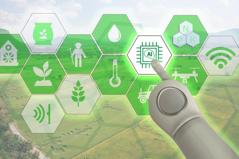 De slimme landbouw, industrieel landbouwconcept met kunstmatige intelligenceai De slimme robot van het Landbouwersgebruik en verg royalty-vrije stock fotografie