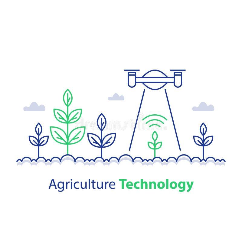De slimme landbouw, landbouwtechnologie, installatiestam en vliegende hommel, innovatieconcept, automatiseringsoplossing, de groe stock illustratie