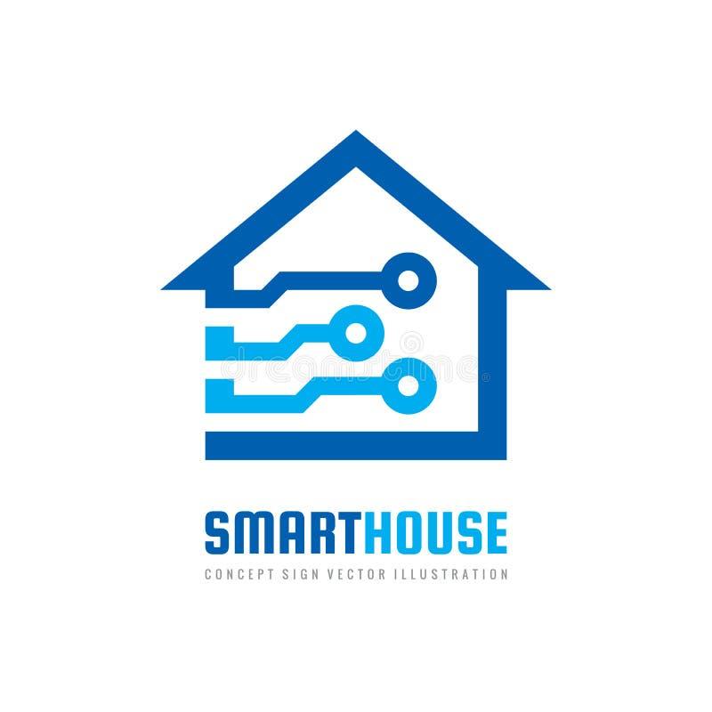 De slimme ontwerpsjabloon van het huisembleem Bouw vectorteken Pictogram van de huis het digitale elektronische technologie royalty-vrije illustratie