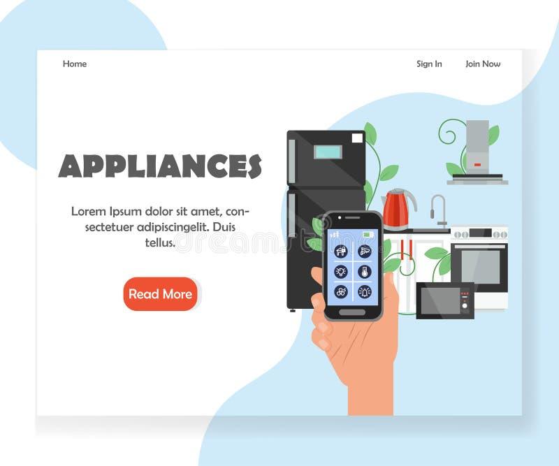 De slimme ontwerpsjabloon van het de websitelandingspagina van keukentoestellen vector royalty-vrije illustratie