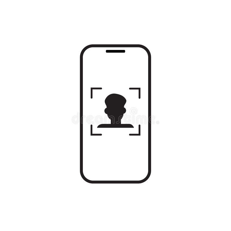 De slimme Persoon van het Telefoonaftasten, Concept van de het Systeem het Biometrische Identificatie van de Gezichtserkenning stock illustratie
