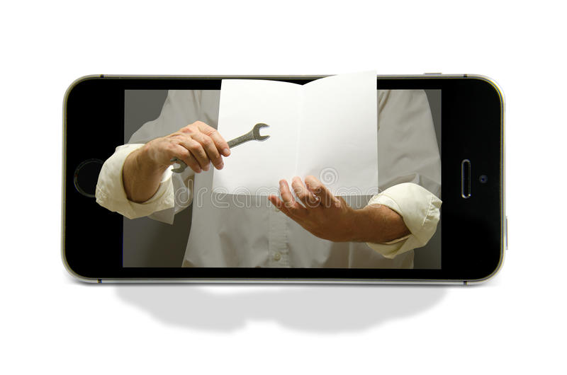 De slimme steun en het onderwijs van telefoon online technologie stock foto