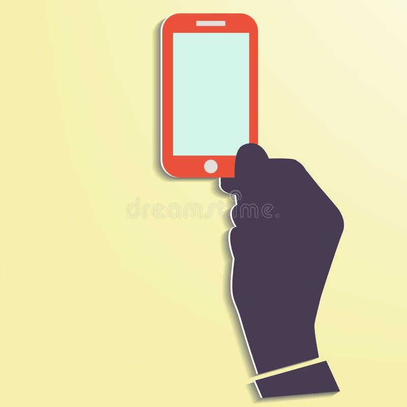 De Slimme telefoon die van de handholding het scherm Nieuwe Techno tonen royalty-vrije illustratie