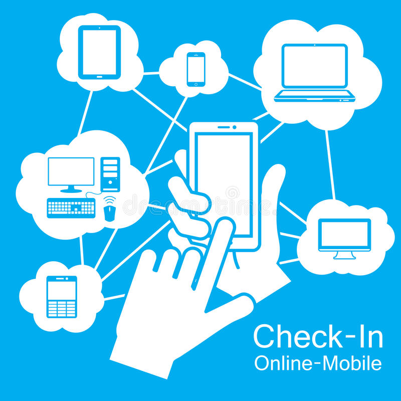 de Slimme Telefoon van het aanrakingsscherm, Communicatietechnologie royalty-vrije illustratie