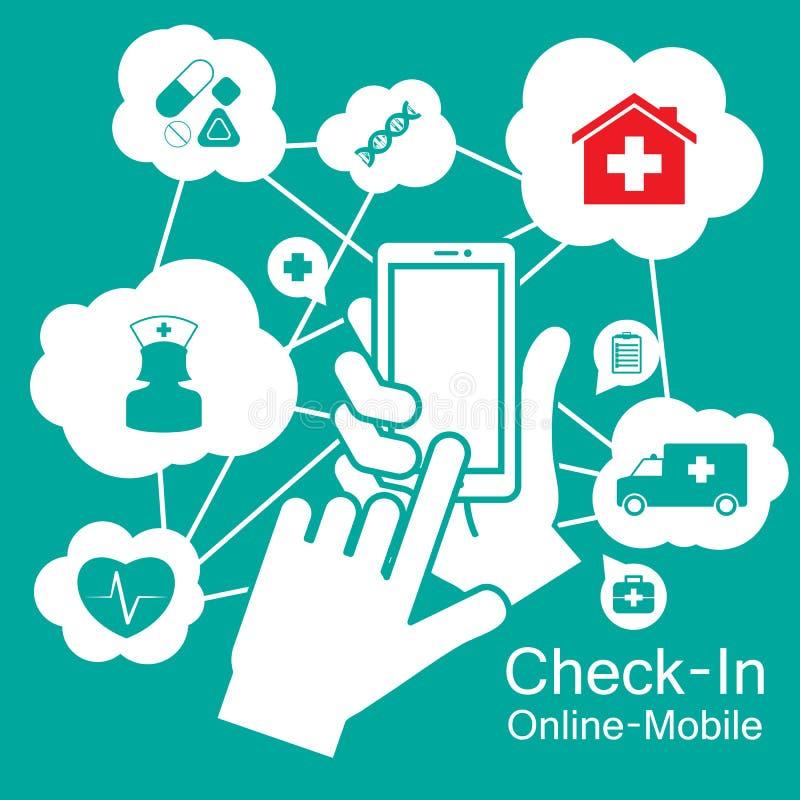 De Slimme Telefoon van het aanrakingsscherm, medische gezondheidszorg stock illustratie