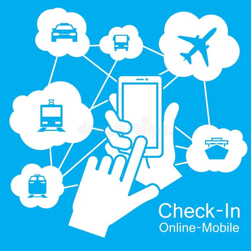 de Slimme Telefoon van het aanrakingsscherm, vervoerreis royalty-vrije illustratie